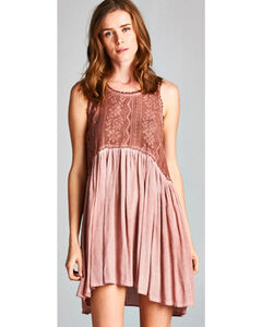Hyku Women's Rust Hi Lo Sleeveless Lace Dress, Rust Copper, hi-res