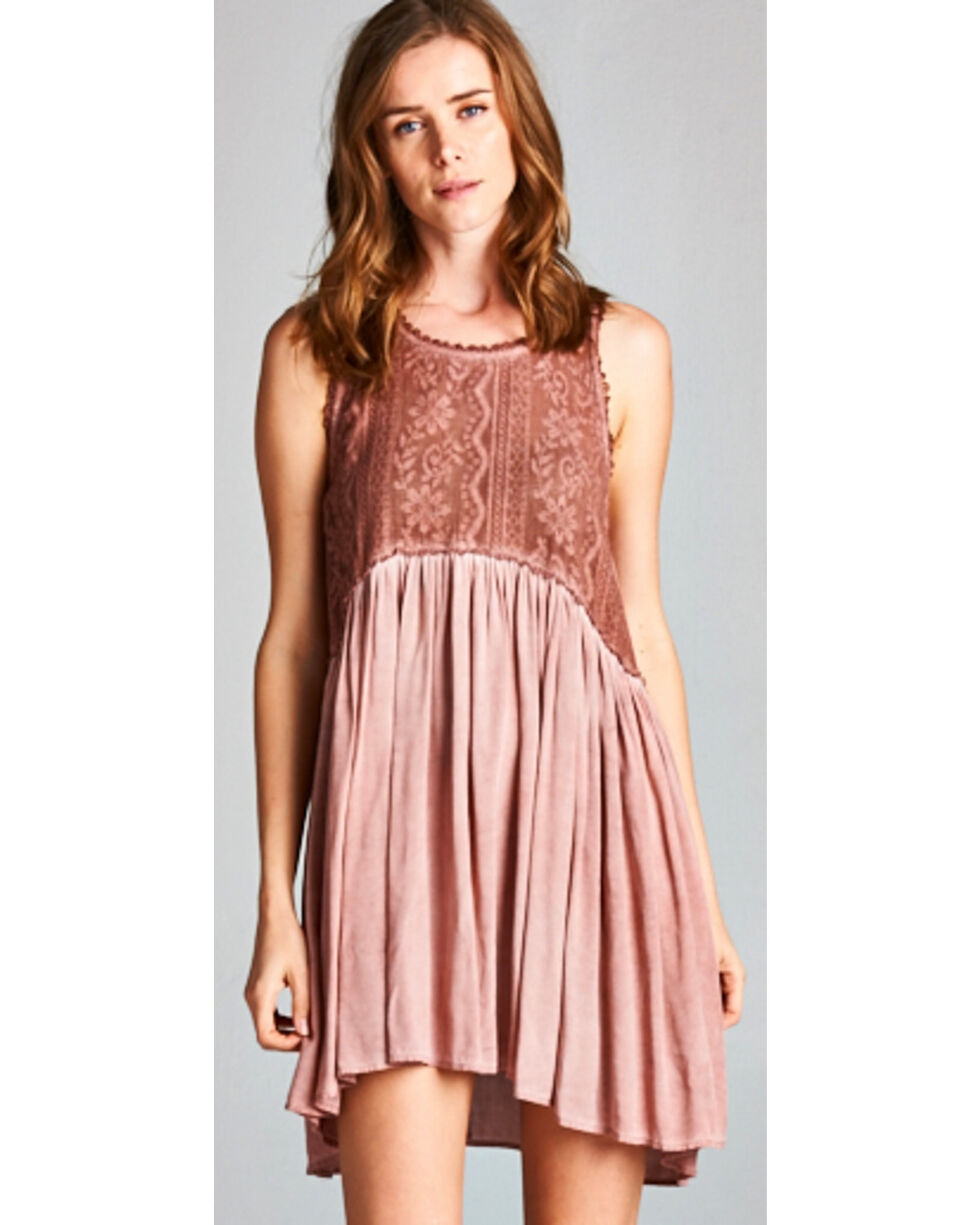 Hyku Women's Rust Hi Lo Sleeveless Lace Dress, Rust Copper, hi-res