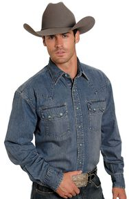 Stetson Denim Snap Western Shirt, Denim, hi-res