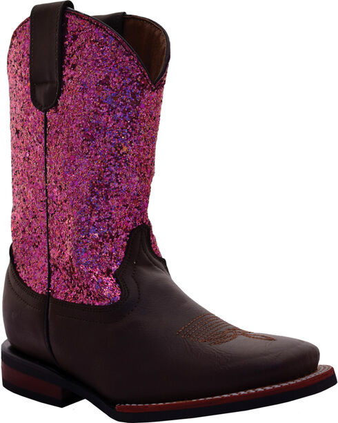 Ferrini Girls' Chocolate Cowhide Sparkle Cowgirl Boots - Square Toe, Chocolate, hi-res