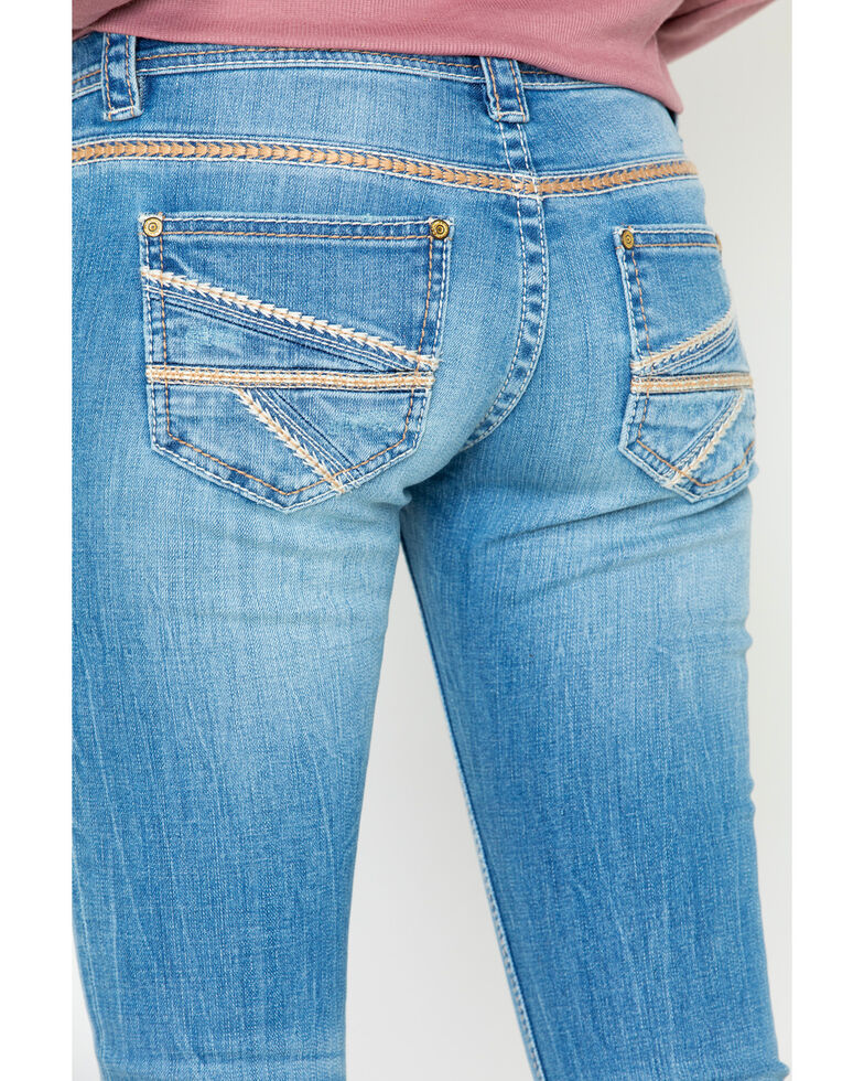 Rock & Roll Cowgirl Women's Feather Stitched Light Low Rise Boot Jeans , , hi-res