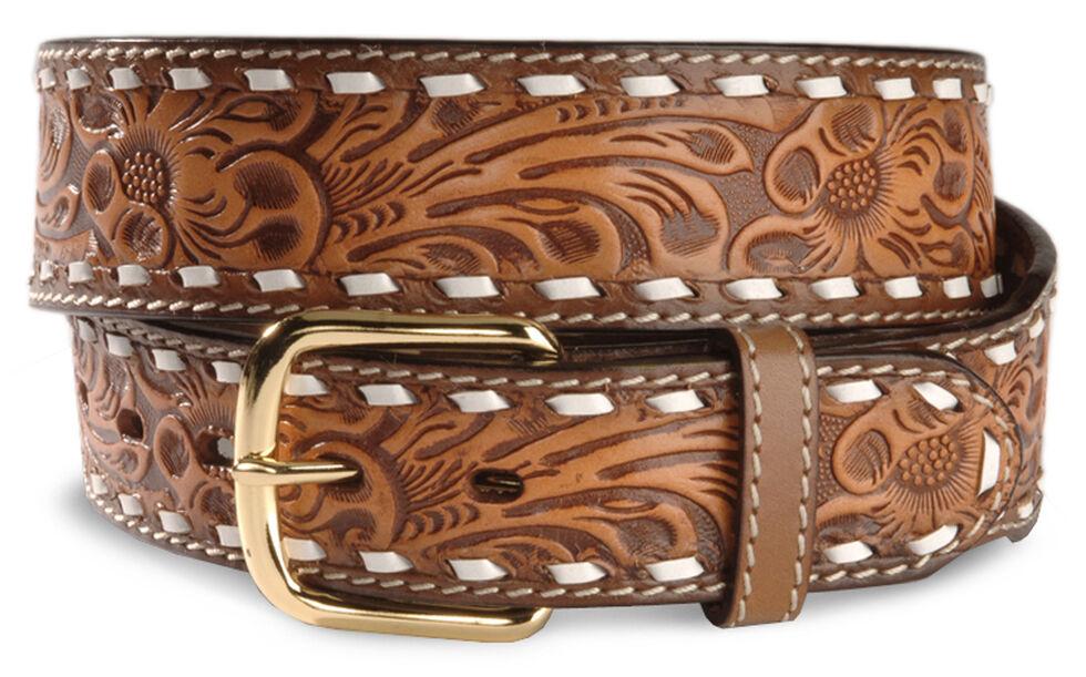 Floral Tooled Leather Belt, Brown, hi-res