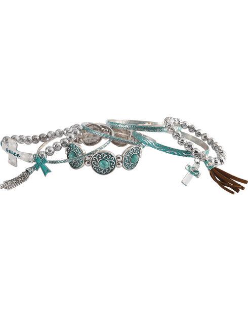 Shyanne Women's Day Dream Multi-Cross Bracelet Set, Turquoise, hi-res