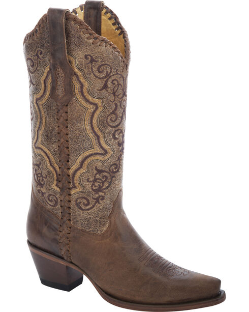 Corral Distressed Whipstitch Cowgirl Boots - Snip Toe, Distressed, hi-res