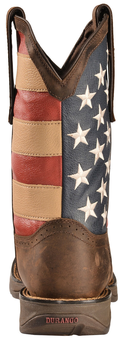 Durango Rebel American Flag Cowboy Boots - Square Toe, Brown, hi-res