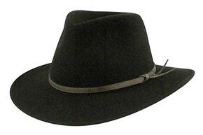 Country Gentleman Men's Outback Fedora, Black, hi-res