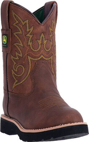 John Deere Kid's Chestnut Western Boots - Round Toe, Brown, hi-res