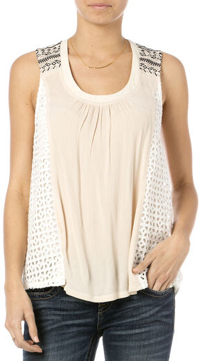 Miss Me Women's Peach Me I'm Dreaming Crochet Tank Top, Taupe, hi-res