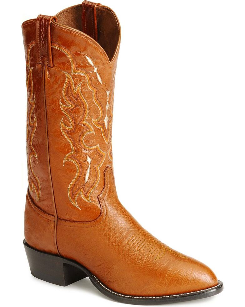 Tony Lama Men's Smooth Ostrich Cowboy Boots - Medium Toe, Peanut Brittle, hi-res