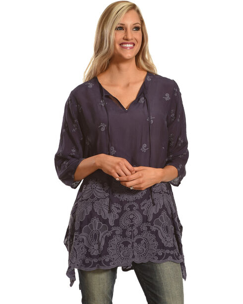 Johnny Was Women's Blue Gravel Paisley Flair Blouse, Blue, hi-res