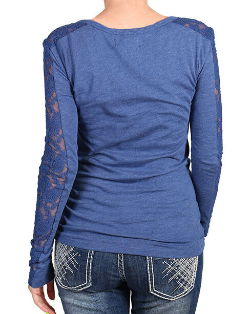 Shyanne Women's Lace Sleeve Panel Henley, Blue, hi-res