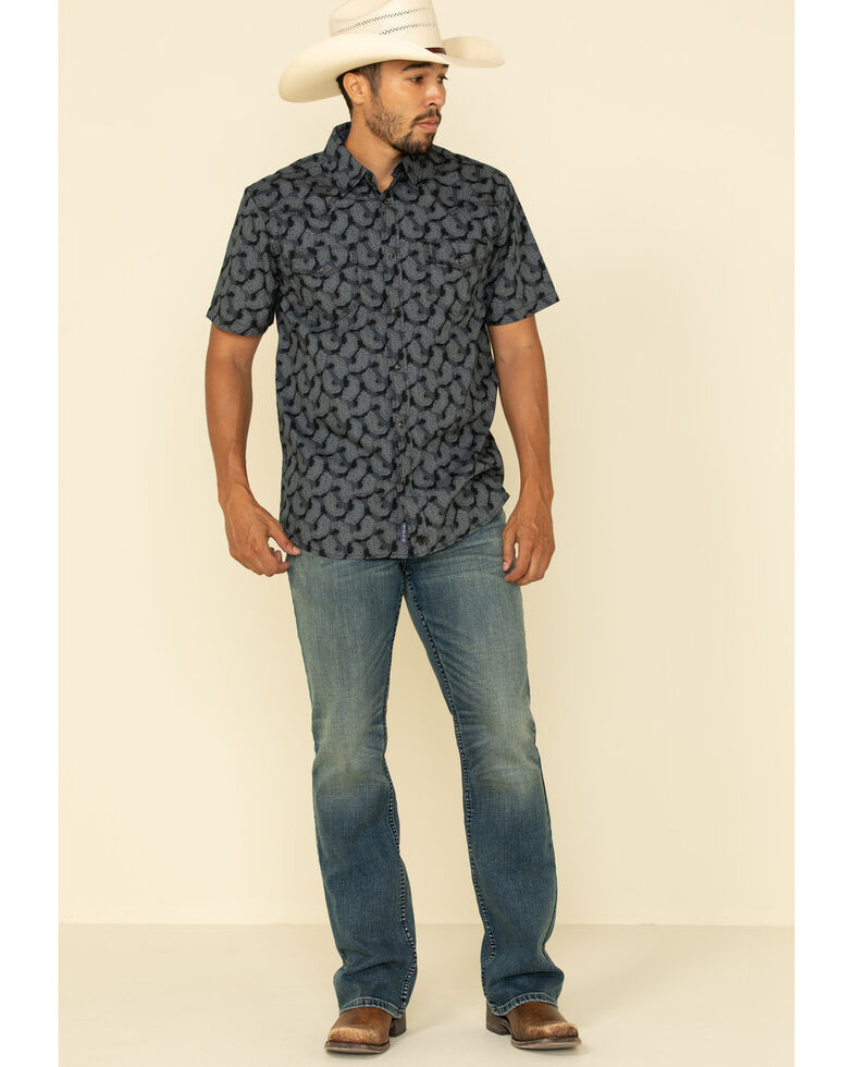 Moonshine Spirit Men's Excalibur Paisley Print Short Sleeve Western Shirt , Black, hi-res