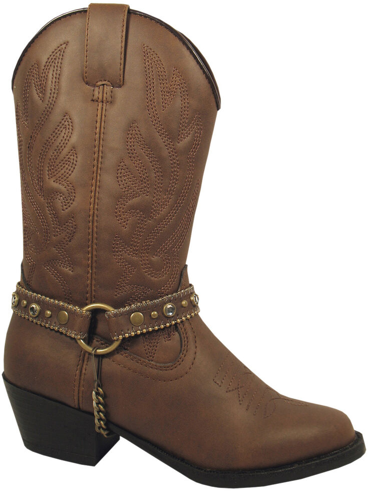 Smoky Mountain Youth Girls' Charleston Western Boots - Round Toe, Brown, hi-res