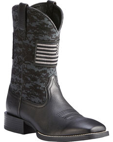 Ariat Men's Black Camo Sport Patriot Western Boots - Square Toe , Black, hi-res