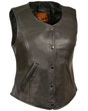 Milwaukee Leather Women's Snap Front Long Body Vest - 3X, Black, hi-res