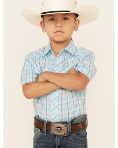 Roper Boys' Turquoise Plaid Short Sleeve Snap Western Shirt , Turquoise, hi-res