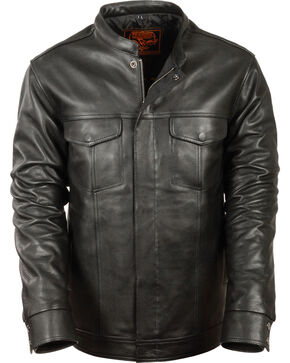 Milwaukee Leather Men's Black Club Style Shirt Jacket , Black, hi-res