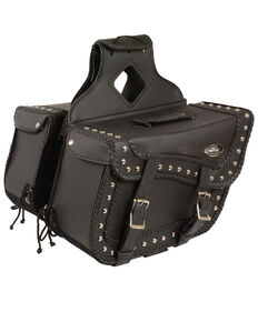 Milwaukee Leather Large Braided Zip-Off PVC Throw Over Saddle Bag with Studs, Black, hi-res