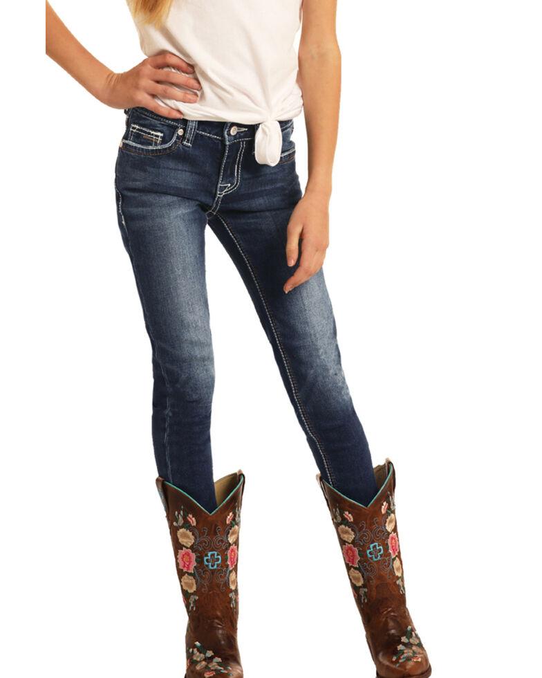 Rock & Roll Denim Girls' Medium Extra Stretch Skinny Jeans , Blue, hi-res