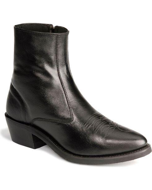 Old West Zipper Western Ankle Boots, Black, hi-res