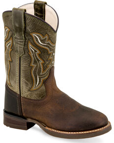 Old West Boys' Brown Leather Cowboy Boots - Round Toe, Brown, hi-res