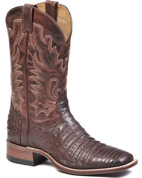 Boulet Brown Caimain Belly Cowboy Boots - Square Toe, Chocolate, hi-res