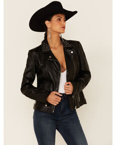 Mauritius Leather Women's Kaye Black Star Outline Studded Zip-Front Leather Jacket , Black, hi-res