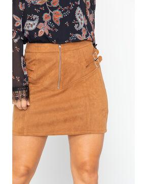 Flying Tomato Women's Camel Front Zip Mini Skirt, Camel, hi-res