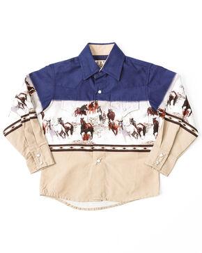 Ely Cattleman Boys' Running Horse Border Print Long Sleeve Shirt , Navy, hi-res