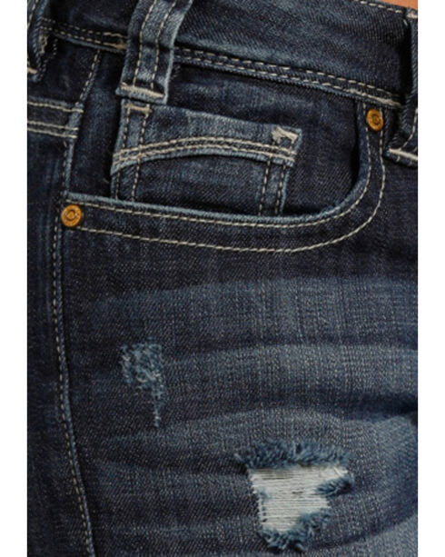 Rock & Roll Cowgirl Women's' Dark Vintage Mid Rise Boot Cut Jeans, Blue, hi-res