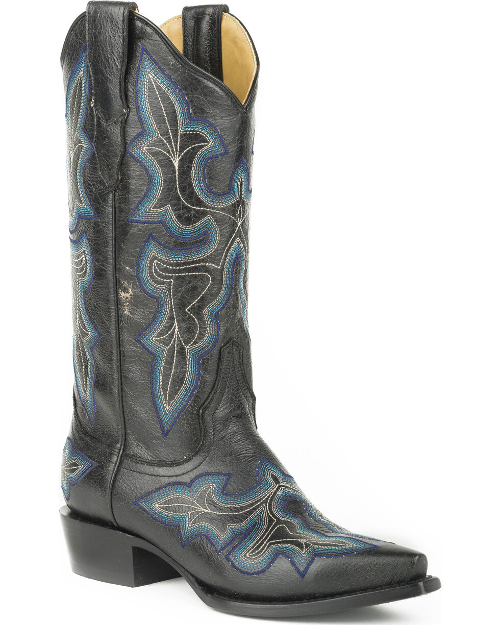 Stetson Women's Blake Black Crackle Western Boots - Snip Toe, Black, hi-res