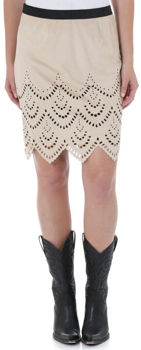 Wrangler Women's Short Faux Suede Laser Cut Skirt, Sand, hi-res