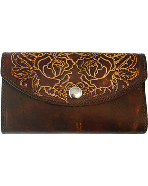 Western Express Women's Rose Tooled Leather Organizer Wallet, Brown, hi-res