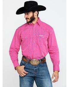 Wrangler Men's Tough Enough To Wear Pink Geo Print Long Sleeve Western Shirt , Pink, hi-res