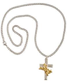 Montana Silversmiths Bullrider Cross Necklace, Silver, hi-res