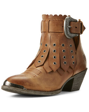 Ariat Women's Hadley Parma Western Booties - Round Toe, Tan, hi-res