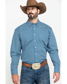 Cinch Men's Modern Fit Blue Diamond Geo Print Long Sleeve Western Shirt , Blue, hi-res