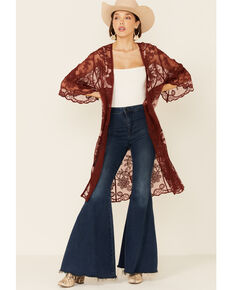 Shyanne Women's Chocolate Floral Lace Duster Kimono , Chocolate, hi-res