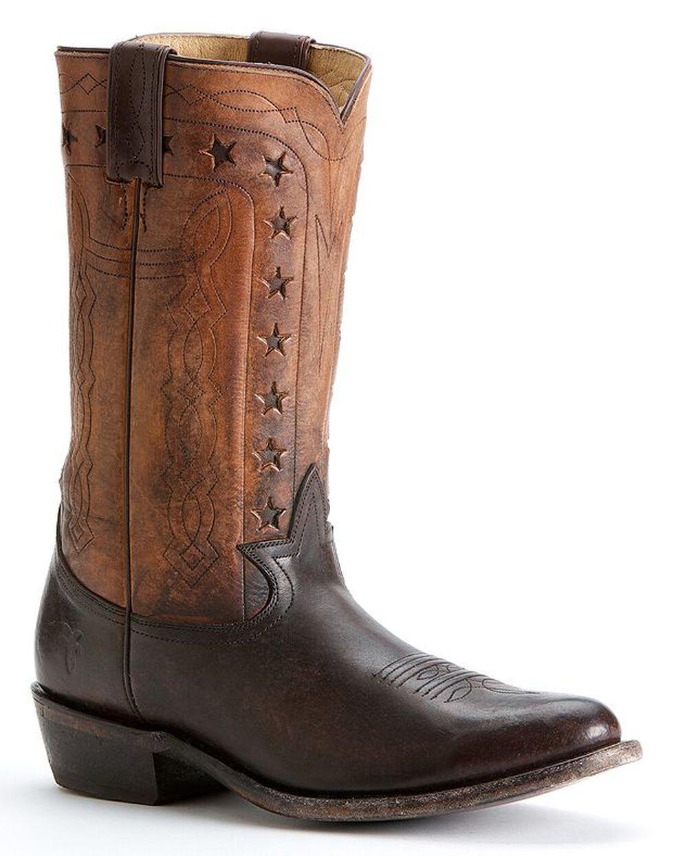 Frye Men's Wyatt Americana Cowboy Boots - Round Toe, Dark Brown, hi-res