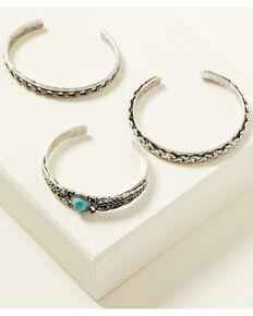 Shyanne Women's Shimmer Concho 3pc Cuff Bracelet Set, Silver, hi-res