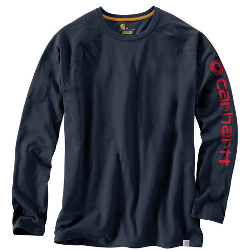 Carhartt Men's Force Cotton Delmont Long Sleeve Graphic T-Shirt, Navy, hi-res