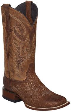 Lucchese Cognac Ryan Shark Cowboy Boots - Square Toe , Cognac, hi-res