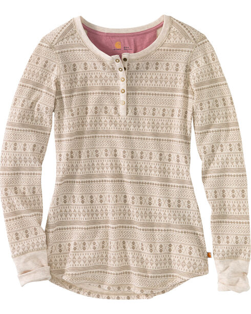 Carhartt Women's Meadow Printed Henley Shirt , Heather Grey, hi-res