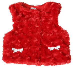 Wrangler Toddler Girls' Red Fur Vest, Red, hi-res