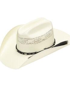 Twister Bangora Straw Cowboy Hat with Braided Band, Natural, hi-res