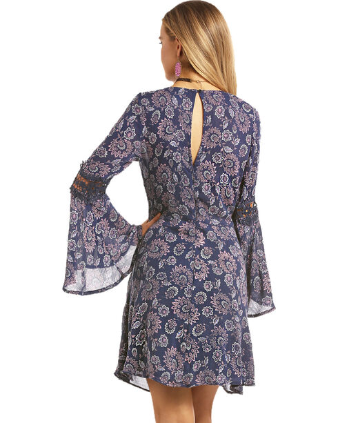 Rock & Roll Cowgirl Women's Swirl Floral Print A-Line Dress, Navy, hi-res