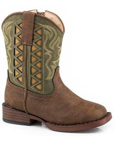 Roper Toddler Girls' Green Askook Western Boots - Square Toe, Green, hi-res