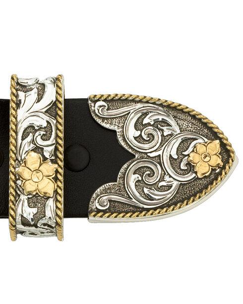 Montana Silversmiths Antiqued Two-Tone Filigree 3-Piece Belt Buckle Set, Multi, hi-res