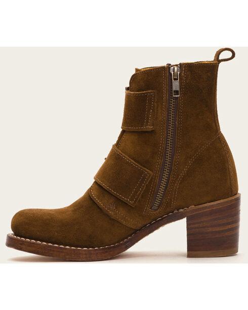Frye Women's Sabrina Double Buckle Light Brown Suede Boots , Lt Brown, hi-res