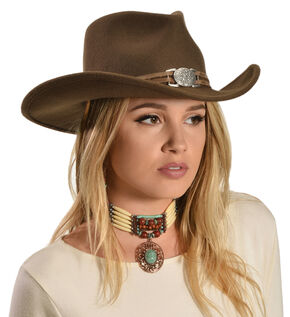 Juniper Brown Wool Felt Cowgirl Hat, Brown, hi-res